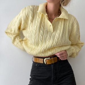 Vintage Cable Knit Henley Sweater Pullover